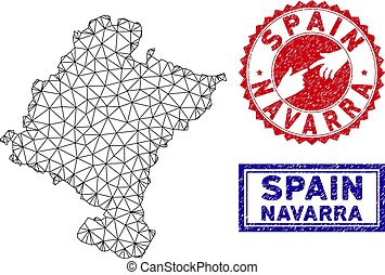 Polygonal Network Navarra Province Map and Grunge Stamps -...
