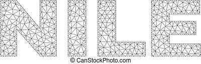 Polygonal Network NILE Text Label - Mesh vector NILE text....