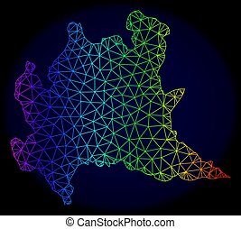 Polygonal Network Spectrum Mesh Vector Map of Lombardy...