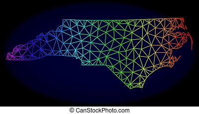 Polygonal Network Spectrum Mesh Vector Map of North Carolina State
