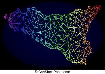 Polygonal Network Spectrum Mesh Vector Map of Sicilia Island...