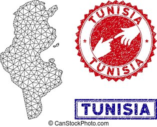 Polygonal Network Tunisia Map and Grunge Stamps