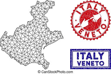 Polygonal Network Veneto Region Map and Grunge Stamps -...