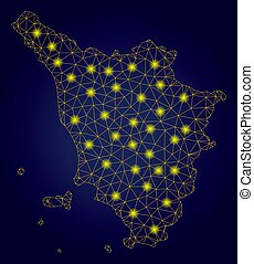 Polygonal Network Yellow Tuscany Region Map with Light Spots...