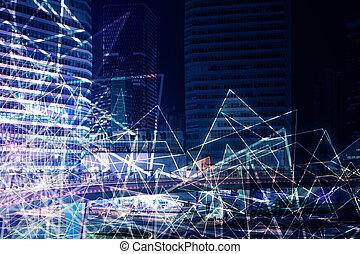 Polygonal night city background