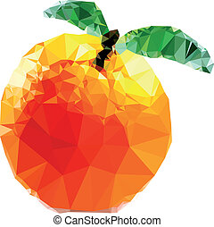 polygonal, orange, fruit, illustration
