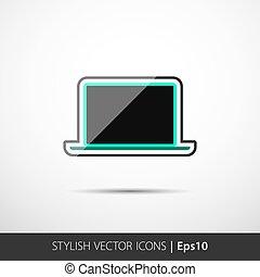 polygonal, ordinateur portable, illustration