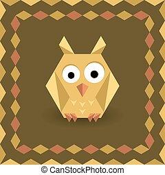 polygonal, origami, フクロウ