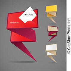 polygonal, origami, bannières, coloré