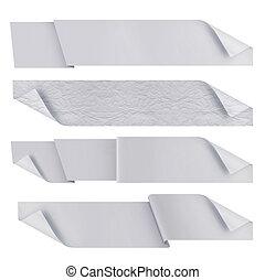 polygonal, origami, biały, wstążki