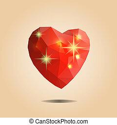 polygonal, origami, vetorial, heart., illustration.