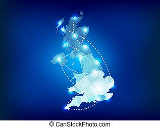 polygonal, paese, regno unito, mappa