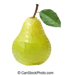 polygonal, pear., vektor, illustration