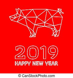 Polygonal pig design for Chinese New Year