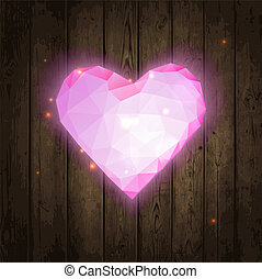 Polygonal pink heart on wooden texture. Vector illustration....