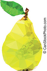 polygonal, poire, jaune, illustration