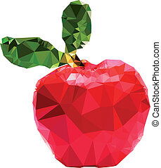 polygonal, pomme, illustration
