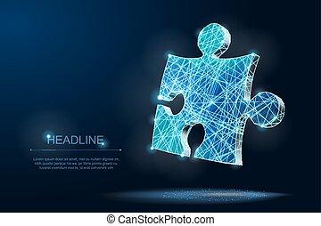 polygonal, résumé, travail, puzzle, équipe