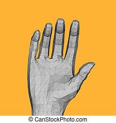 polygonal, ręka