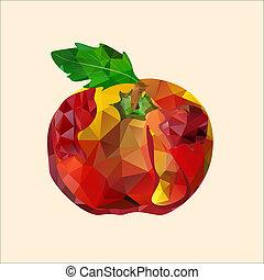 polygonal red apple