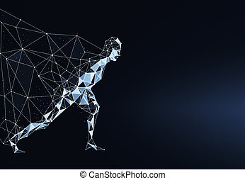 polygonal, rennender , held