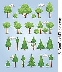polygonal, sammlung, bäume