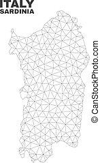 polygonal, sardaigne, vecteur, maille, carte
