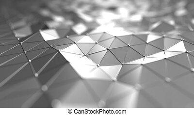 polygonal, seamless, apparenté, mouvement, arrière-plan., futuriste, technologie, argent, boucle