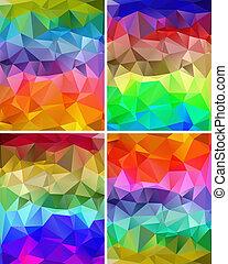polygonal, set, achtergronden