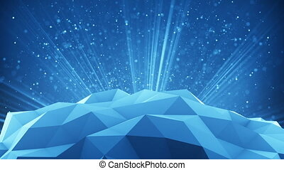 Polygonal shape and light rays 3d render loop