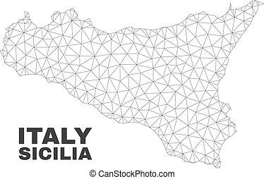 polygonal, sicilia, vecteur, maille, carte