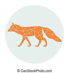 Polygonal silhouette of a orange fox.