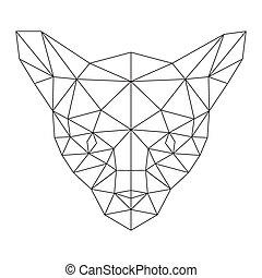 polygonal, silhuett, katt