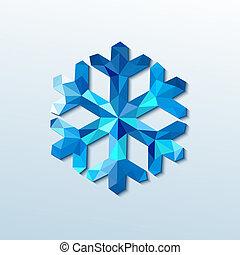 polygonal, snowflake., vecteur, noël, illustration