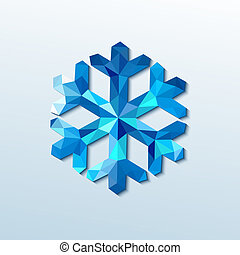 polygonal, snowflake., vektor, jul, illustration