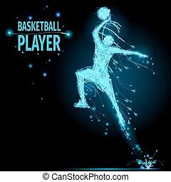 polygonal, spelare, basketboll