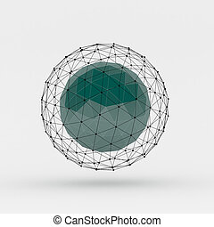 3D rendering of polygonal sphere with connected lines and dots over white background