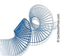polygonal, spiral., helical, 3d, バックグラウンド。