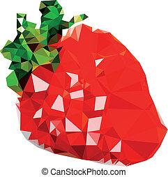 Polygonal Strawberry Fruit Illustration