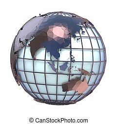 Polygonal style illustration of earth globe, Asia and Oceania view 3D