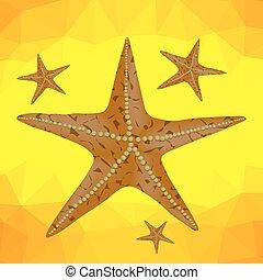 polygonal, tło, żółty, rozgwiazda