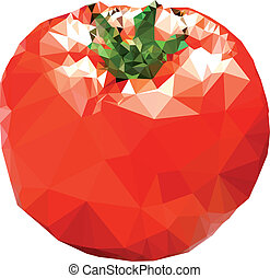 polygonal, tomate, illustration