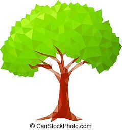 polygonal, träd., vektor, illustration