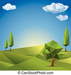 Polygonal trees. Abstract vector Illustration, low poly style.