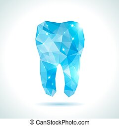 Polygonal turquoise vector tooth. Abstract illustration. -...
