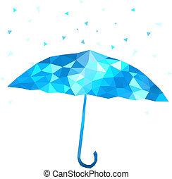 polygonal, umbrella., vektor, illustration