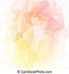 polygonal, vecteur, pastel, -, triangulaire, fond, printemps, pêche, jaune, tendre, lumière, rose, conception, couleurs, orange