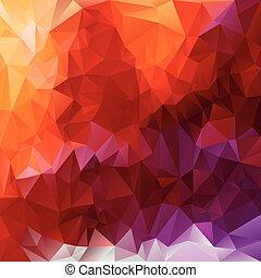 polygonal, vecteur, rouges, -, triangulaire, fond, pourpre, orange, violet, ardent, rose, jaune, conception, couleurs