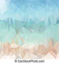 polygonal, vector, beige, playa, -, patrón, plano de fondo, triangular, luz azul, diseño, colores, mar