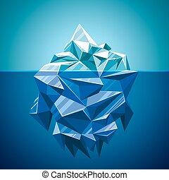 polygonal, vector, estilo, nieve, montaña, iceberg